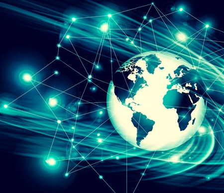 Best Internet Concept of global business. Globe, glowing lines on technological background.  rays, symbols Internet, 3D illustration
