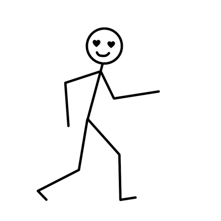 Walking man, primitive drawing in black pencil on a white background