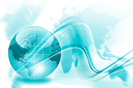 Best Internet Concept. Globe, glowing lines on technological background. Electronics, WiFi, rays, symbols Internet, television, mobile and satellite communications. Technology 3D illustration Stock Photo