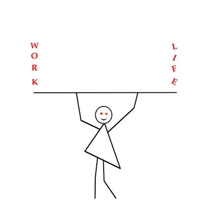 Woman with arms raised carries a stick, bar and inscription work and life, a primitive pattern in a black pencil on a white background. Symbolic drawing, a symbol of balance between work, home, private life
