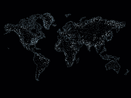 World map on a technological background, glowing lines symbols of the Internet, radio, television, mobile and satellite communications. Imagens