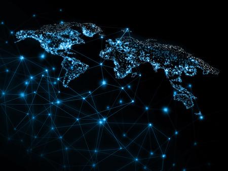Mapa mundial sobre un fondo tecnológico, líneas brillantes símbolos de Internet, radio, televisión, comunicaciones móviles y satelitales. Foto de archivo