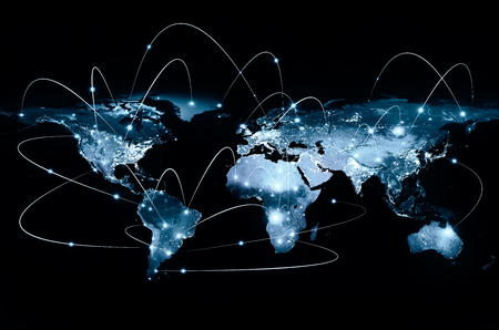 Physical world map illustration. Banque d'images