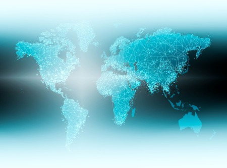 World map on a technological background, glowing lines symbols of the Internet, radio, television, mobile and satellite communications. Foto de archivo