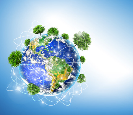 Ecological concept of the environment with the cultivation of trees . Planet Earth. Physical globe of the earth. 3D illustration Standard-Bild - 121137264