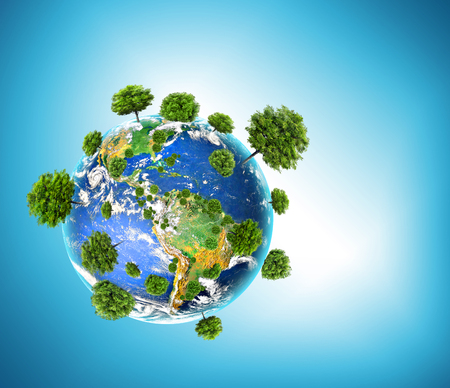 Ecological concept of the environment with the cultivation of trees . Planet Earth. Physical globe of the earth.  3D illustration 版權商用圖片