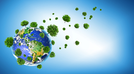 Ecological concept of the environment with the cultivation of trees . Planet Earth. Physical globe of the earth. 3D illustration