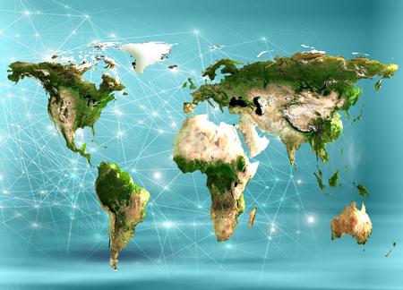 Physical world map illustration. 写真素材
