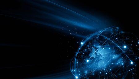 Best Internet Concept of global business. Globe, glowing lines on technological background. symbols Internet, 3D illustration Stock fotó