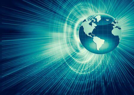 Best Internet Concept of global business. Globe, glowing lines on technological background. rays, symbols Internet, 3D illustration Stock fotó