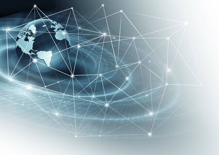 Best Internet Concept of global business. Globe, glowing lines on technological background.Rays, symbols Internet, 3D illustration