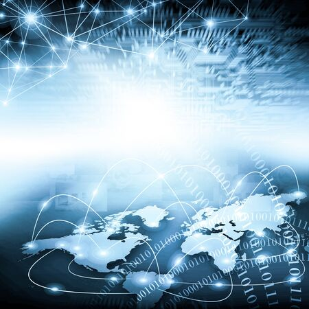 World map on a technological background, glowing lines symbols of the Internet, radio, television, mobile and satellite communications. Stock fotó
