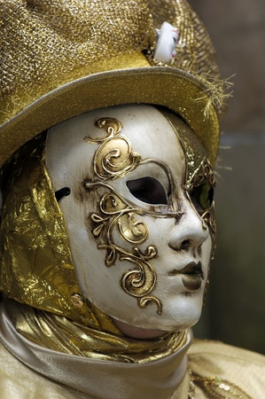 Venetian Carnival Mask - A portrait of one of the most beautiful masks photographed in open street during venetian carnival. Stock Photo - 9712527