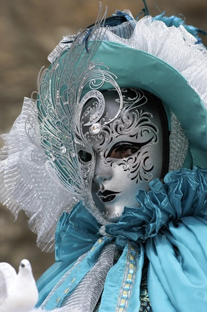 Venetian Carnival Mask - A portrait of one of the most beautiful masks photographed in open street during venetian carnival. Stock Photo - 9712526