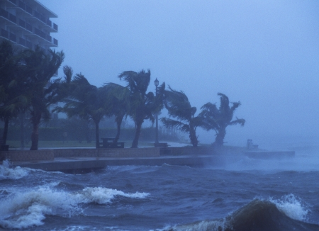 storms: Hurricane Frances hits near Juno Beach, FL with hurricane force winds. September 4, 2004. Editorial