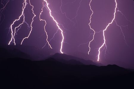 tucson: Lightning strikes over SE Arizona, USA. (Tucson). Stock Photo