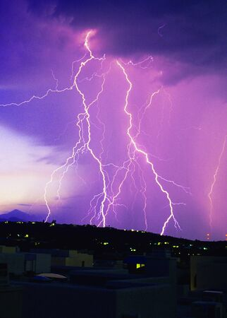 tucson: Lightning strikes over SE Arizona Stock Photo