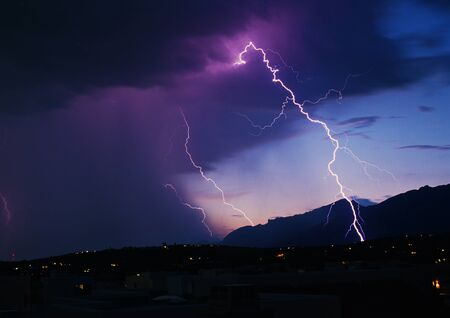 tucson: Lightning strikes over SE Arizona. Stock Photo