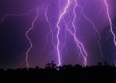 severe weather: Lightning strikes over SE Arizona Stock Photo