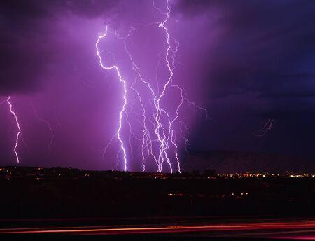 warren: Lightning strikes over SE Arizona Stock Photo