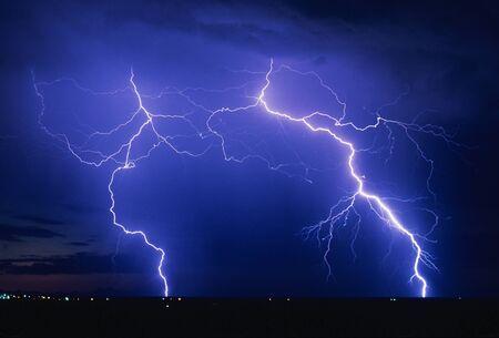severe weather: Lightning strikes over SE Arizona, USA   Tucson