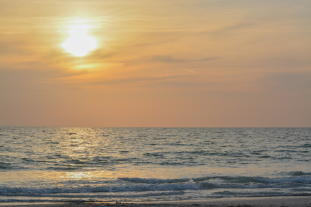 subtropical: Sunset over the Gulf of Mexico on Indian Rocks Beach in Florida Stock Photo