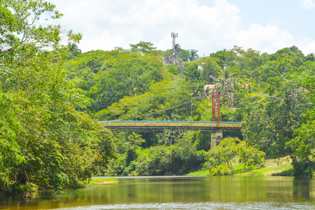 The iconic Hawksworth Suspension Bridge over the Macal River in Belize