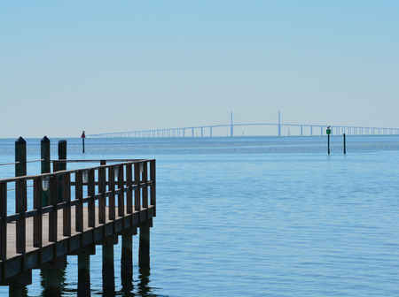 The beautiful distant outline of the Sunshine Skyway Bridge over Tampa Bay, Florida Stock Photo