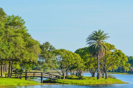 Een mooie dag voor een wandeling en het uitzicht op de houten brug naar het eiland in John S. Taylor Park in Largo, Florida.