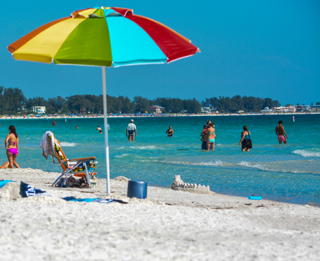 bluesky: Great day at St Pete Beach on the Gulf of Mexico in Florida Stock Photo