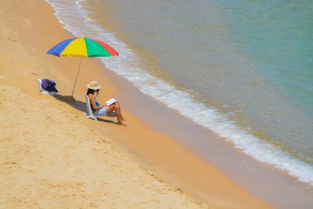 A beautiful woman relaxing on the Mediterranean Sea at Ashkelon, Israel