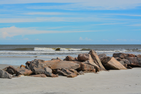 North Jetty at Huguenot Memorial Park in Duval County, Atlantic Ocean, Florida Archivio Fotografico
