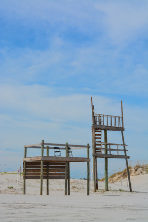 Life Guard Station and Tower in Duval County on the Atlantic Ocean in jacksonville.