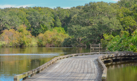 Wood bridge near Amelia Plantation in Nassau County, Florida.