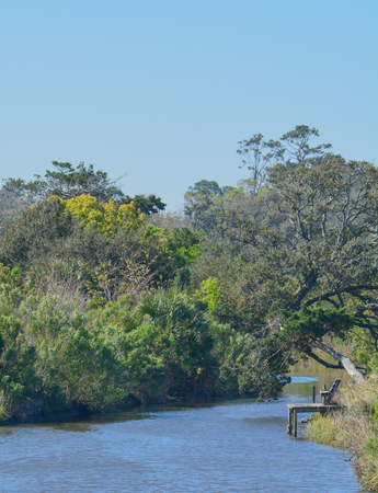 View of Egans Creek at Fernandina Beach in Nassau County, Florida USA Imagens
