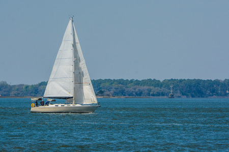 Sailboat sailing on Cumberland Sound. Fernandina Beach, Nassau County, Florida USA