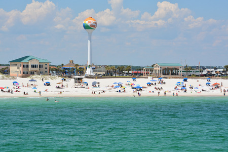 Beach goers at Pensacola Beach in Escambia County, Florida on the Gulf of Mexico, USA