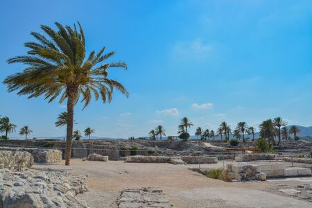 Archaeological remains in Tel Megiddo National Park. At Jezebel Valley, Northern Israel
