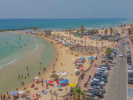 Netanya Beach on the Mediterranean Sea in Netanya, Israel