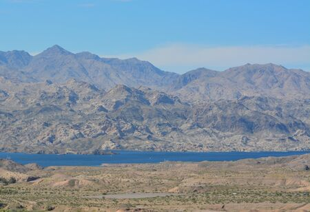 Beautiful view of Lake Mohave on the Arizona Nevada border, in the Lake Mead National Recreation Area. Mohave County, Arizona USA