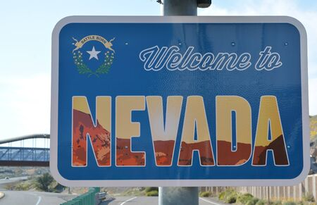 Welcome to Nevada Sign on the border with Arizona. In Laughlin, Clark County, Nevada USA