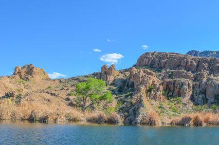 Beautiful view of Ayer Lake in the Boyce Thompson Arboretum State Park, Superior, Arizona USA