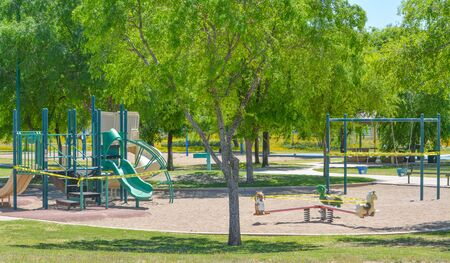 Play grounds closed due to Coronavirus, Covid-19. Social distancing ordered by the Governor of Arizona, Glendale, Maricopa County, Arizona USA