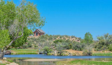 View of Fain Lake in Prescott Valley, Yavapai County, Arizona USA