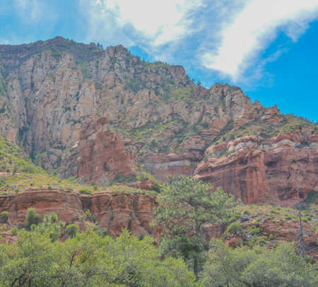 Gorgeous drive of red rock in the Oak Creek Canyon on Coconino National Forest, Sedona, Arizona.