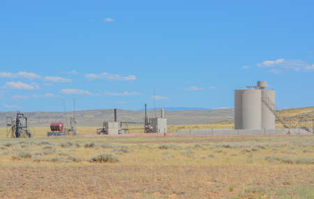 Fracking equipment for Oil and Natural gas extraction. Hydraulic Fracturing Shale in Carbon County Wyoming