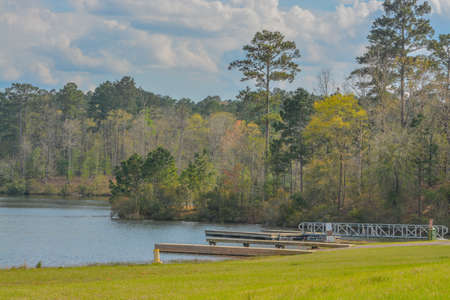 The beautiful view of Okhissa Lake in Homochitto National Forest, Bude, Franklin County, Mississippi 免版税图像