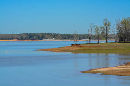 Beautiful park view of Enid Lake in George Payne Cossar State Park at Oakland, Yalobusha County, Mississippi