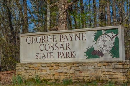 The sign for George Payne Cossar State Park in Oakland, Yalobusha County, Mississippi