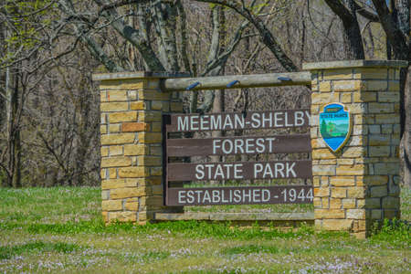 The Meeman Shelby Forest State Park sign in Millington, Shelby County, Tennessee 免版税图像